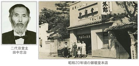 二代目堂主 田中忠治 昭和20年頃の御堀堂本店